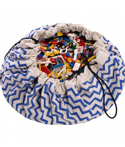 2in1 Spielmatte und Spielzeugsack ZIGZAG in blau