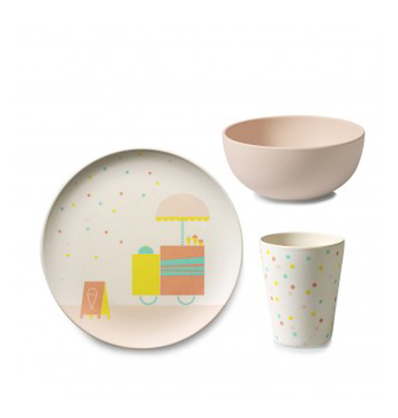 kindergeschirr set 39 ice cream 39 bambus engel puenktchen. Black Bedroom Furniture Sets. Home Design Ideas