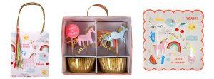"""Partytüte, Cupcake-Kit und Pappteller-Set aus der Meri Meri """"Regenbogen & Einhorn""""-Serie"""