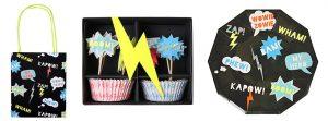 """Partytüte, Cupcake-Kit und Pappteller-Set aus der Meri Meri """"Superhelden""""-Serie"""