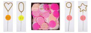 Gold-Glitzer-Wunderkerzen und pinkfarbenes Riesen-Konfetti