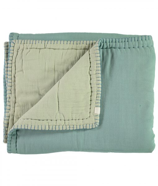 "CAMOMILE LONDON Tagesdecke ""Two tone soft quilt"" Light Teal:Mint3"
