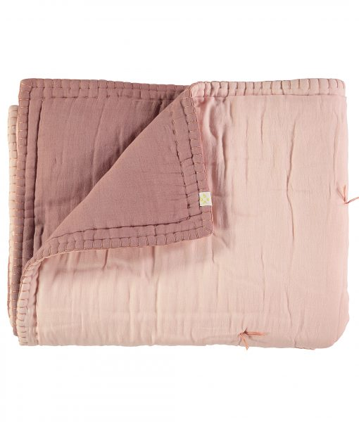 "CAMOMILE LONDON Tagesdecke ""Two tone soft quilt"" blush:pearl pink1"